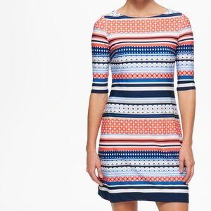 ELIZA J Stripe Geo Print Boatneck Dress Size 6